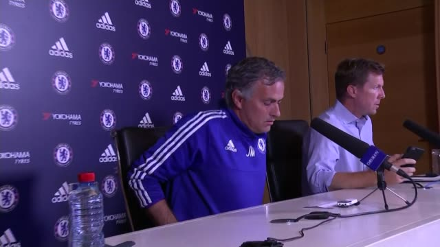 axed medical staff could return to bench says jose mourinho england surrey cobham int jose mourinho into press conference/ journalists seated at... - cobham surrey stock videos and b-roll footage