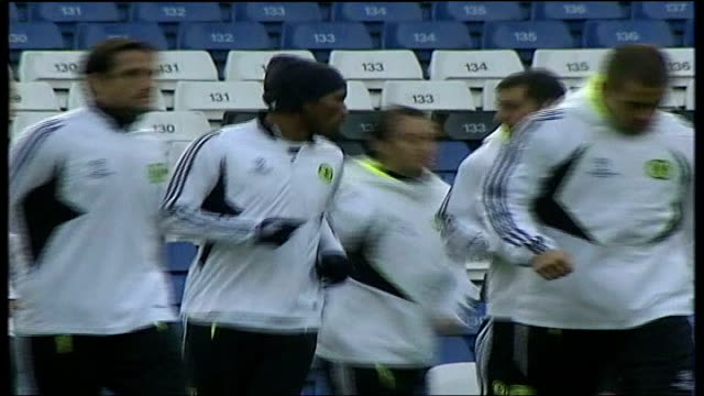 Chelsea FC training at Stamford Bridge EXT More of Chelsea players training including shots of Didier Drogba Avram Grant Shevchenko