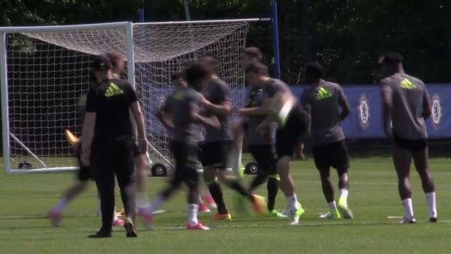 Chelsea first team training ahead of their FA Cup final clash against Arsenal on Saturday GVs of N'Golo Kante Eden Hazard John Terry Diego Costa Gary...