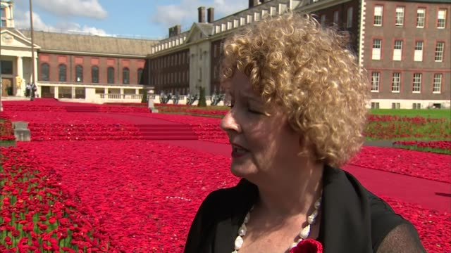 Chelsea Flower Show 2016 Display of handmade poppies at Royal Hospital Chelsea ENGLAND London Chelsea Royal Hospital Chelsea EXT Reporter to camera...