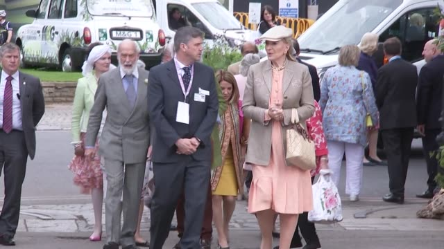 queen visits with duke and duchess of cambridge england london chelsea royal hospital chelsea ext princess alexandra the honourable lady ogilvy and... - chelsea flower show stock videos & royalty-free footage