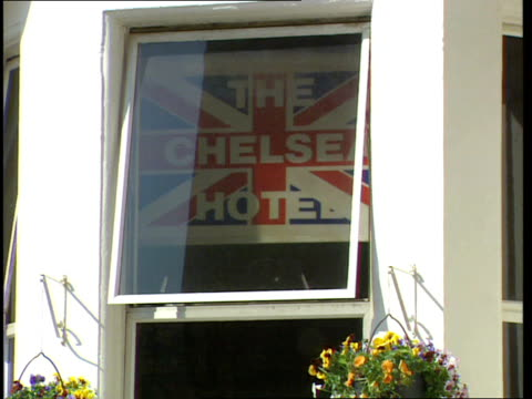 chelsea hotel where duggan works zoom alan robertson intvwd wrong of duggan to get involved entrance to earls court gym - earls court stock videos & royalty-free footage