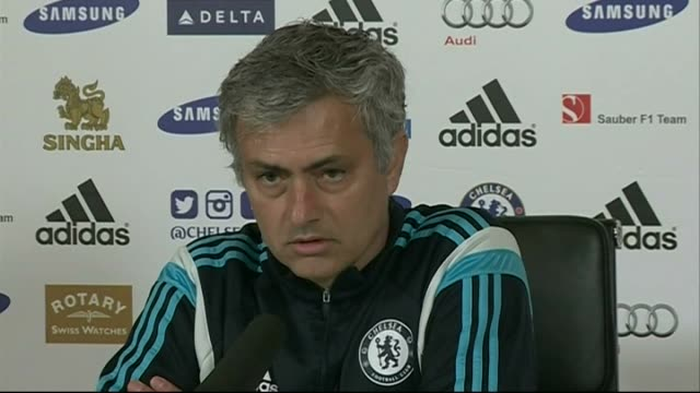 jose mourinho press conference england surrey cobham int **picture quality as incoming** jose mourinho press conference sot - cobham training ground stock videos and b-roll footage