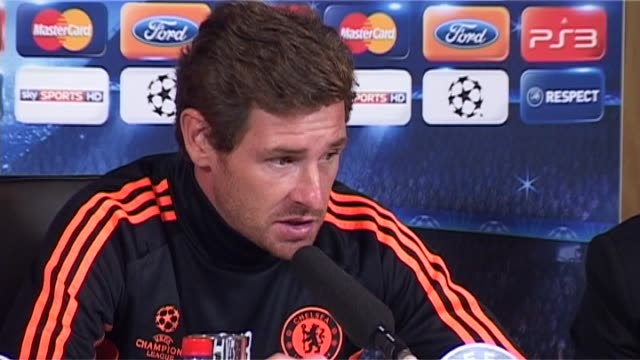 chelsea manager andre villasboas interview along with raul meireles funny chelsea bayer leverkusen uefa champions league 2012 at chelsea training... - cobham training ground stock videos and b-roll footage