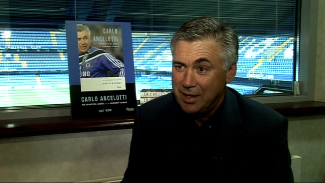 stockvideo's en b-roll-footage met chelsea manager carlo ancelotti autobiography launch carlo ancelotti interview sot on asking other italians about england before he came / england... - autobiografie