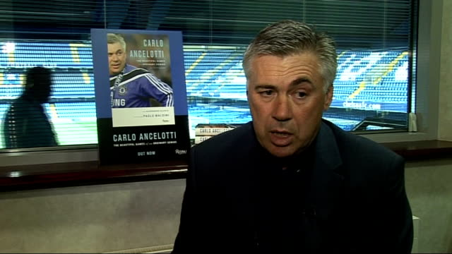stockvideo's en b-roll-footage met chelsea manager carlo ancelotti autobiography launch int carlo ancelotti interview sot on the proceeds from his autobiography going to charity to... - autobiografie