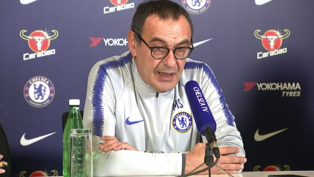 chelsea manager says goalkeeper made 'big mistake' after refusing substitution england london int maurizio sarri press conference sot - refusing stock videos & royalty-free footage