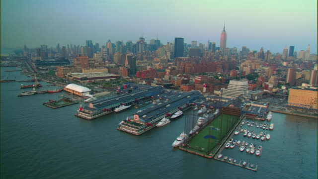 aerial, chelsea piers, west side, manhattan, new york city, new york, usa - chelsea piers stock videos & royalty-free footage