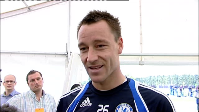 chelsea players training / john terry interview terry interview sot only beat portsmouth 21 at home /they've had a great cup run and good league... - double chance stock videos & royalty-free footage