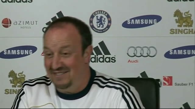 chelsea prepare for capital one cup tie with leeds surrey cobham int rafael benitez joking with press sot wide shot benitez addressing press... - cobham surrey stock videos and b-roll footage