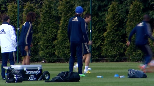 chelsea prepare for europa league final / fail to ensure champions league qualification england surrey cobham ext low angle view chelsea players out... - cobham surrey stock videos and b-roll footage
