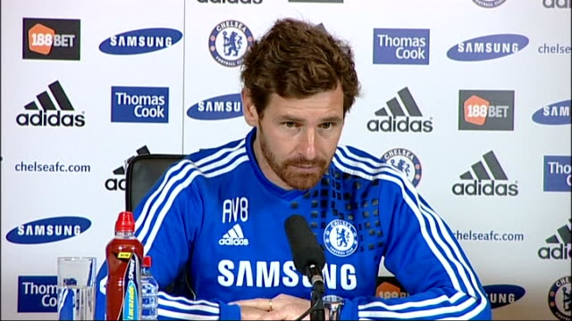 surrey cobham int andre villas boas sitting at press conference andre villasboas speaking sot re conceding late goals in last couple of games i went... - sports round stock videos & royalty-free footage