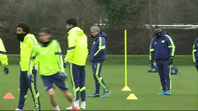 jose mourinho says club is ashamed / fans suspended from matches lib surrey cobham ext mourinho along at chelsea training session - cobham surrey stock videos and b-roll footage