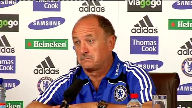 scolari press conference england surrey cobham int luis felipe scolari press conference sot talks of upcoming match v manchester united - cobham training ground stock videos and b-roll footage