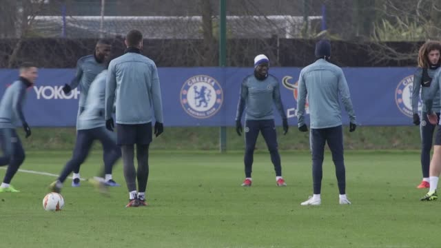 Chelsea train ahead of the first leg of their Europa League clash with Malmo includes players Marcos Alonso Ross Barkley Gary Cahill Willian Callum...