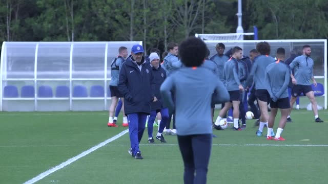 chelsea train ahead of their europa league second leg match against eintracht frankfurt. after a 1-1 draw in the first leg, both sides have... - leg press stock videos & royalty-free footage