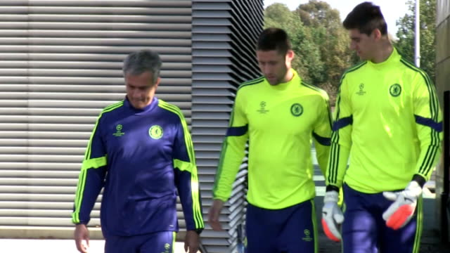 surrey cobham ext chelsea players arriving on pitch includnig cesc fabregas nathan ake and john terry / jose mourinho arriving / chelsea players... - cobham surrey stock videos and b-roll footage