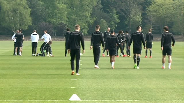 surrey cobham ext chelsea players jose mourinho and others arriving on pitch / wide shots chelsea training session / wide shot mourinho chatting to... - cobham training ground stock videos and b-roll footage