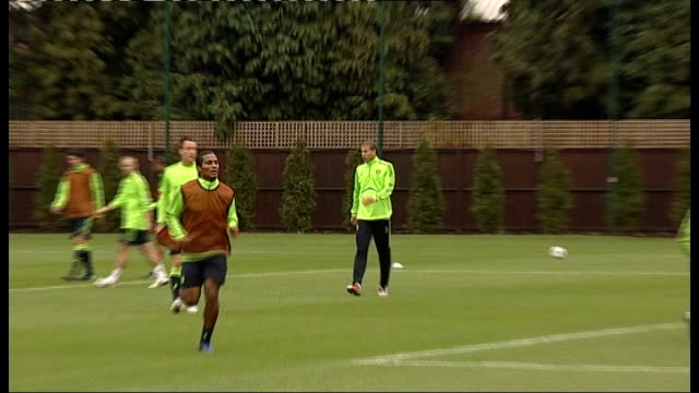 surrey cobham ext members of chelsea fc squad at football training session including carlo ancelloti watching training/ players participating in... - cobham training ground stock videos and b-roll footage