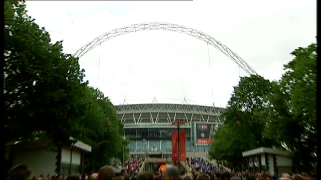 Chelsea win FA Cup final General View of Wembley Stadiium with mass crowds arriving in f/g