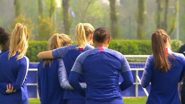 chelsea women face lyon in champions league semifinal cobham surrey uk various shots of chelsea women's players doing training drills erin cuthbert... - women's football stock videos & royalty-free footage
