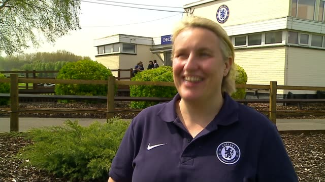 chelsea women face lyon in champions league semifinal england surrey cobham ext emma hayes interview sot chelsea women's players doing training... - cobham surrey stock videos and b-roll footage
