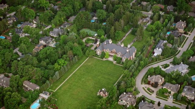 aerial chelster hall in oakville, ontario - ontario canada stock videos & royalty-free footage