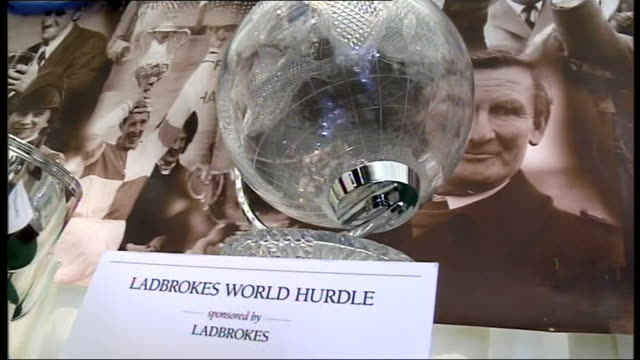 cheltenham 2009 cheltenham festival on gold cup day closeup of foxhunters steeplechase challenge cup trophy closeup of world hurdle trophy closeup of... - steeplechase stock videos and b-roll footage