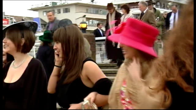 cheltenham 2009 cheltenham festival on gold cup day racegoing ladies along in hats and in fashion - cheltenham stock videos & royalty-free footage