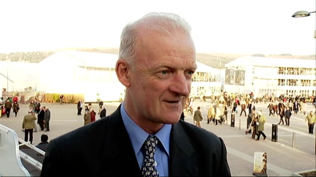 cheltenham festival 2015 faugheen wins champion hurdle willie mullins interview sot - hurdling horse racing stock videos and b-roll footage