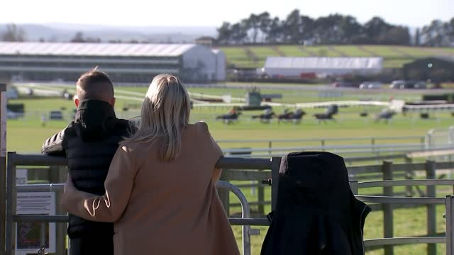 cheltenham festival 2021: event goes ahead without crowds; england: cheltenham racecourse: ext gv horses racing around course reporter to camera rear... - sports race stock videos & royalty-free footage