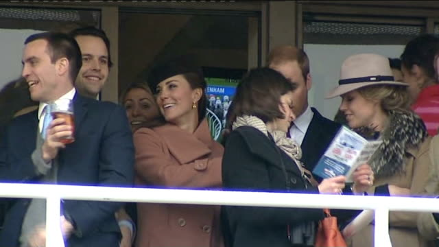 duke and duchess of cambridge attend england gloucestershire cheltenham cheltenham racecourse ext crowds attending the cheltenham national hunt... - cheltenham racecourse stock videos and b-roll footage