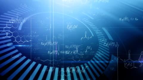 vídeos y material grabado en eventos de stock de química fórmulas (azul) de bucle - fórmula química