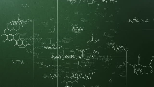 stockvideo's en b-roll-footage met chemical formulas (green) - loop - schoolbord
