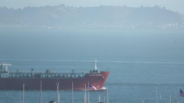 chemical oil tanker ship at sea - san francisco bay stock videos & royalty-free footage
