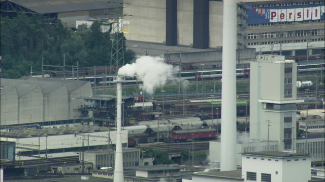 aerial chemical works close to basel, switzerland - switzerland stock videos & royalty-free footage