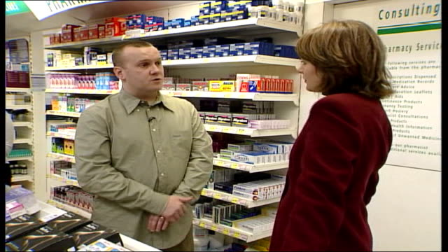 chemist shops under threat from deregulation england north london tesco pharmacy department in store bv woman at counter gv pharmacy goods on shelf... - bear market stock videos and b-roll footage
