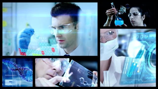chemists in laboratory split screen - biotechnology stock videos & royalty-free footage
