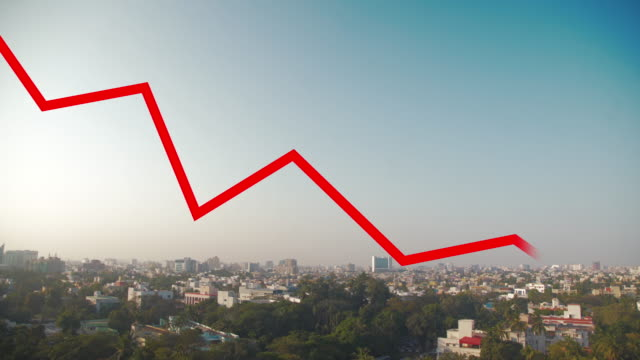 chennai india skyline with red line chart falling down. covid-19 crisis concept - ease stock videos & royalty-free footage