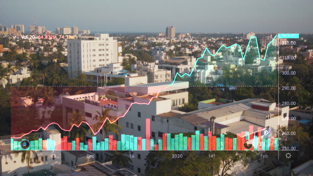 chennai india skyline with red line chart falling down. covid-19 crisis concept - india stock videos & royalty-free footage