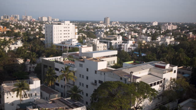 chennai skyline from high angle point of view - chennai stock videos & royalty-free footage