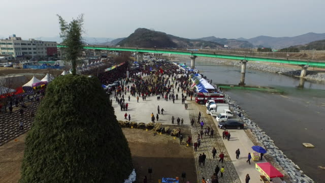 cheongdo doju tug-of-war / cheongdo-gun, gyeongsangbuk-do, south korea - korea stock-videos und b-roll-filmmaterial