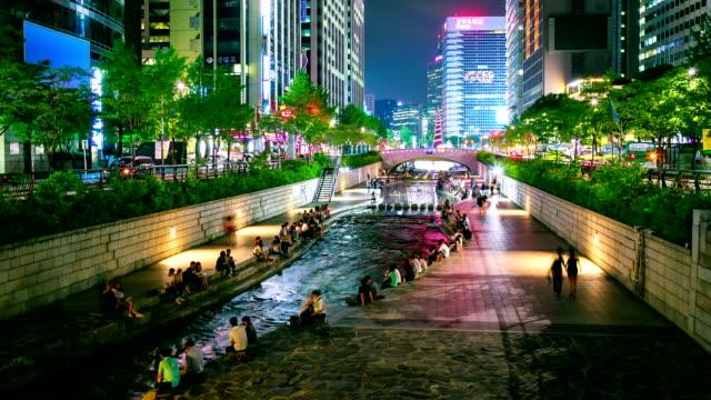 canale cheonggyecheon - corea del sud video stock e b–roll