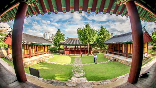 cheongwonlu(main gate) in ulsan hyanggyo (official local institution of the joseon dynasty) - architectural feature stock videos & royalty-free footage