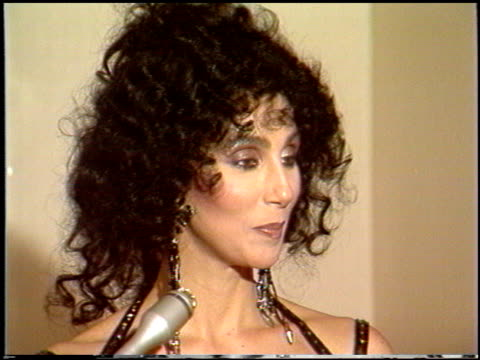 cher at the 1988 golden globe awards at the beverly hilton in beverly hills, california on january 23, 1988. - 1988 stock videos & royalty-free footage