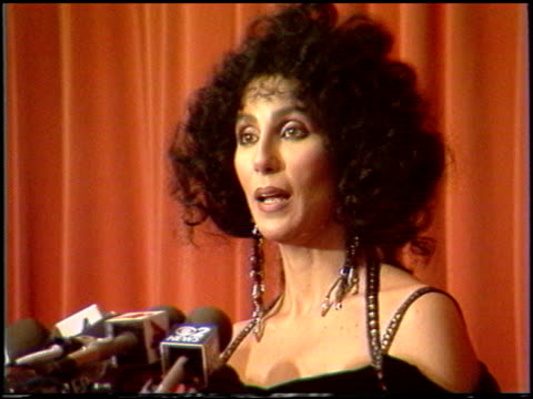 cher at the 1988 golden globe awards at the beverly hilton in beverly hills, california on january 23, 1988. - golden globe awards stock videos & royalty-free footage