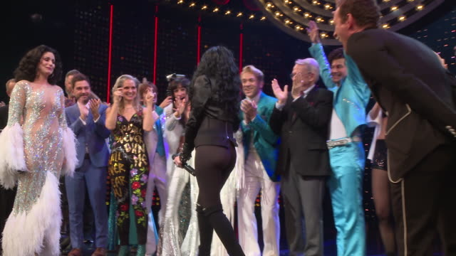 cher performs at opening night of the cher show on broadway at neil simon theatre on december 03, 2018 in new york city. - television show stock-videos und b-roll-filmmaterial