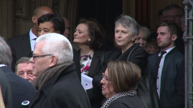 cherie blair at tony benn - funeral at st margaret's church on march 27, 2014 in london, england. - トニー ベン点の映像素材/bロール