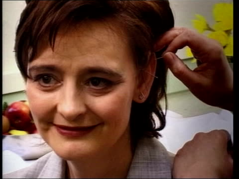 cherie blair opens alternative therapy centre lib cherie blair having acupuncture needles inserted in her ear - acupuncture stock videos & royalty-free footage