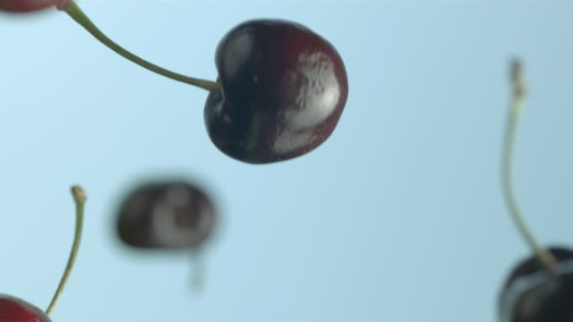 Cherries fall against a blue background.